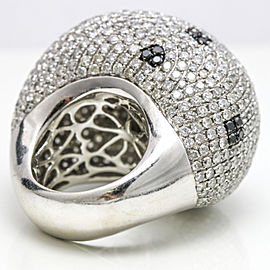 13.25 Carat 18k White Gold Black White Diamond Large Bombe Dome Ring