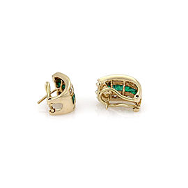 Diamond & Emerald 14k Yellow Gold Huggies Earrings