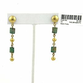 Gurhan Phoenician 24k Gold & Turquoise Bead Long Dangle Earrings