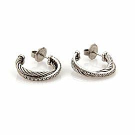 David Yurman Diamond Ice Crossover Sterling Silver Hoop Earrings