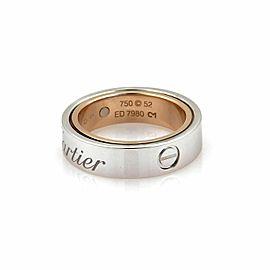 Cartier Secret 18k White & Rose Gold 5.5mm Band Ring Size 52 US 6