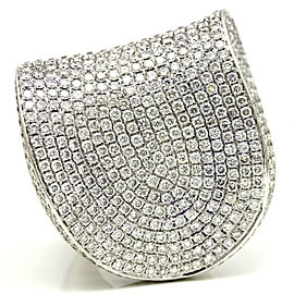 13.20 18k White Gold Pave Diamond Large Statement Ring