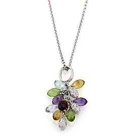 Diamond & Multi-Color Cluster Bead 18k White Gold Pendant
