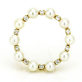 14k Yellow Gold Cultured Pearl Diamond Circle Brooch