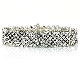 16.00 Carat 18k White Gold Diamond Mesh Chain Bracelet