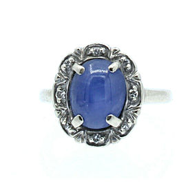 ESTATE 14k White Gold Oval Star Sapphire Ladies ring 3.5 Grams Size 4.5