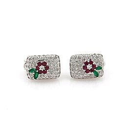 1.71ct Diamond Emerald Ruby 18k White Gold Floral Earrings