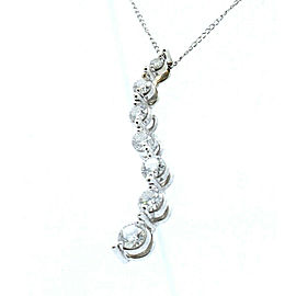 14k White Gold Free Form .60ct Diamond Necklace Pendant