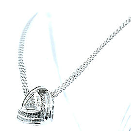 Sterling Silver Baguettes Round Diamond Necklace Italy