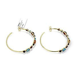 Ippolita Gelato Multi Color Topaz Gems 18 Yellow Gold Large Hoop Earrings