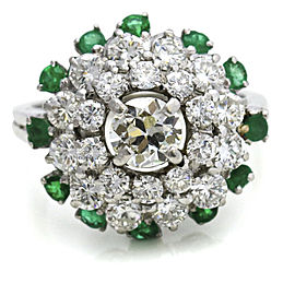 3.58 Carat Platinum Diamond Emerald Cluster Ring