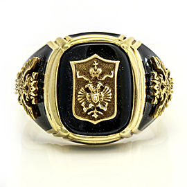 14k Yellow Gold Black Onyx Enamel Imperial Eagle Men's Ring