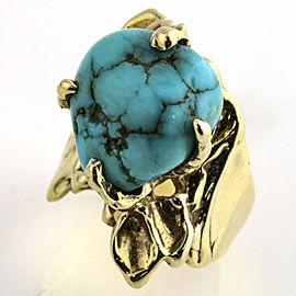 14k Yellow Gold Turquoise Handmade Native Ring