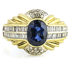 3.35 Carat 14K Yellow Gold Sapphire Diamond Ring