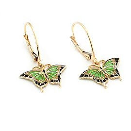 Enamel Butterfly 14k Yellow Gold Drop Dangle Earrings