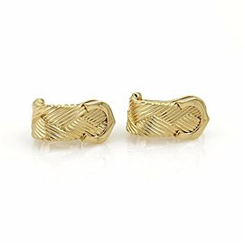 Cartier Double C Diamond Basket Weave 18k Yellow Gold Earrings w/Paper