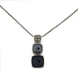 David Yurman Chiclet Diamond, Hematite,Onyx Sterling Silver Necklace