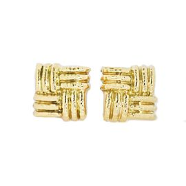Nuovi Gioielli 18k Yellow Gold Hammered Ribbed Design Large Square Earrings