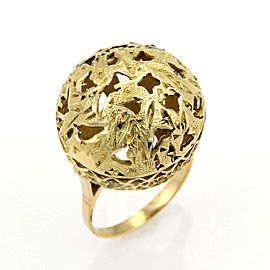 Large Filigree 18k Yellow Gold Ball Ring