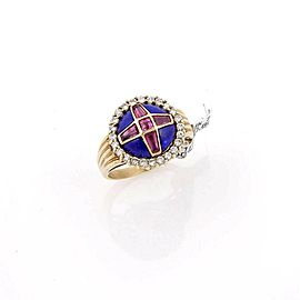 Estate One Of A Kind 14K Gold Lapis Diamond & Pink Tourmaline Dome Cocktail Ring