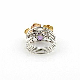 Amethyst 18k White & Yellow Gold 3 Roses Multi Wire Band Ring Size 7