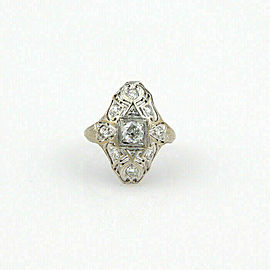 Art Deco Diamond 18k White Gold Filigree Design Dome Top Ring Size 5