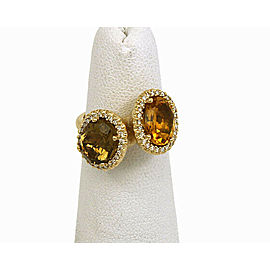 Citrine & Diamond 14k Yellow Gold Double Oval Top Ring Size 5