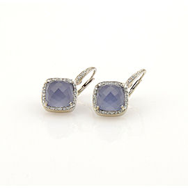 Rina Limor Diamond Chalcedony 18k White Gold Earrings
