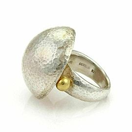 Gurhan Dome Sterling Silver & 24k gold accent Hammered Ring