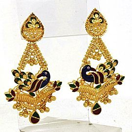 Multicolor Enamel Peacock Fancy Bead 22k Gold Chandelier Earrings
