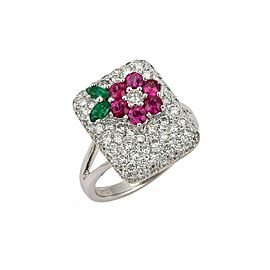 1.70ct Diamond Emerald Sapphire 18k White Gold Floral Ring Size 6.5