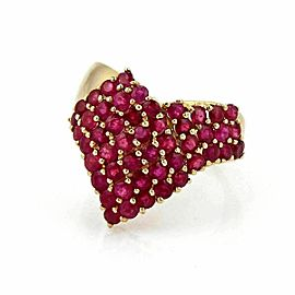 LeVian Ruby 14k Yellow Gold V Design Cluster Ring