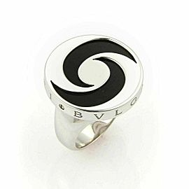 Bvlgari Onyx Spinning Optical 18k White Gold & Stainless Steel Ring Size 5.5