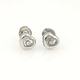 Chopard Happy Diamond 18k White Gold Mini Heart Stud Earrings