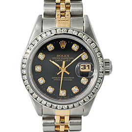 Rolex Datejust 69173 Womens Automatic Watch Two Tone SS 0.88CT Black Dial 26mm