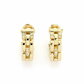 Cartier Maillon Panthere Diamond 18k Yellow Gold Oval Hoop Earrings w/Paper