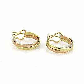 Cartier Trinity 18k Tri-Color Gold Interlaced Hoop Earrings
