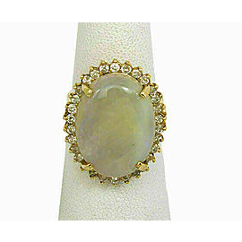 Vintage Opal & Diamond 14k Yellow Gold Oval Top Ring Size 7