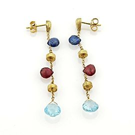 Sapphire Topaz & Garnet 18k Yellow Gold Drop Dangle Earrings