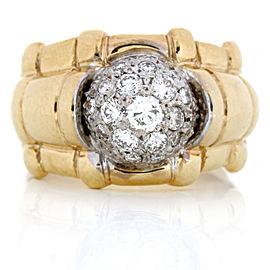 Bamboo Diamond Cluster Band Ring in 14-Karat Yellow Gold