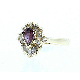 ESTATE 14K YELLOW GOLD AMETHYST .75CT DIAMOND LADIES RING 4 GRAMS SIZE 5