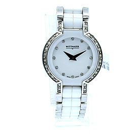 Wittnauer 12R103 Diamond Bezel White Ceramic & Stainless Steel Ladies Watch