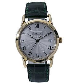 Asprey Tempus Fugit Rare Automatic Men's Watch SIlver Opaline Dial 18k Gold 35MM