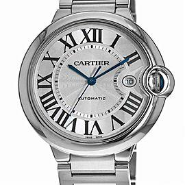 Cartier Ballon Bleu 3765 W69012Z4 Men Automatic Watch Silver Dial W/B&P 42mm