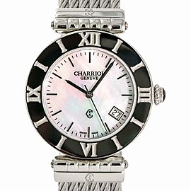 Charriol Alexandre AC SL Unisex Quartz Watch With Box & Papers SS 36mm