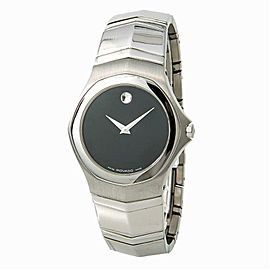 Movado Faceto 84G11895 Mens Quartz Stainless Steel Watch Black Dial 36mm