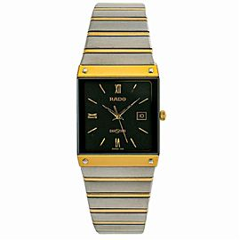 Rado Diaster 129.0271.3 Mens Quartz Watch Black Dial Two Tone SS 27mm
