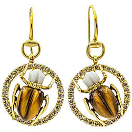 Gucci Scarab Dangle Earrings in 18k Yellow Gold with Diamonds Agate Tiger's Eye