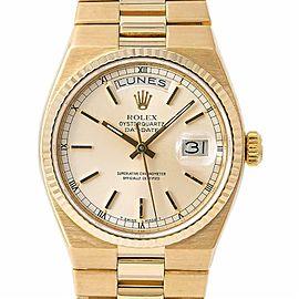 Rolex Day-Date Oysterquartz President 19018 Men Watch Silver Dial 18k Gold 36mm