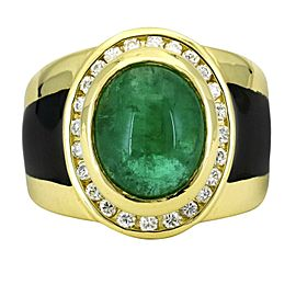 Men's Emerald and Diamond Gemstone Statement Ring in 18k Yellow Gold